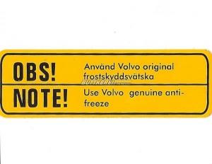 Aufkleber Kühler- Frostschutz B18